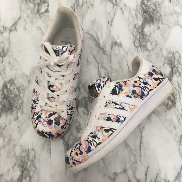 b75dbdc7ae28 adidas Shoes - Adidas Superstar Floral Print Watercolor Sneakers
